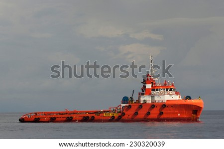 Close-up of a supply vessel  - stock photo