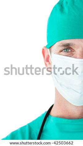 Close-up of a surgeon wearing a surgical mask isolated on a white background - stock photo