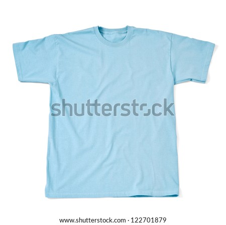 close up of  a t shirt on white background with clipping path - stock photo