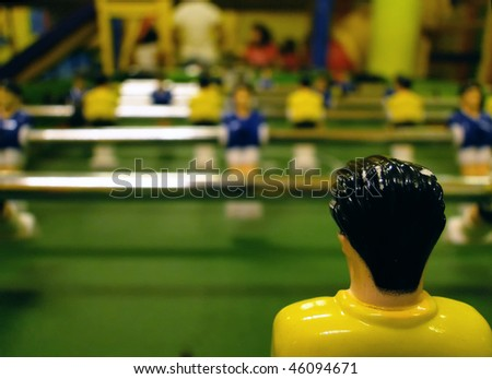 Close up of a table soccer, kids game - stock photo