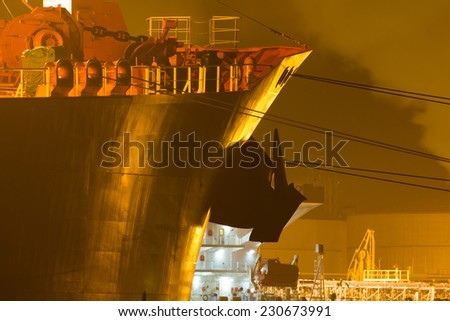 Close-up of a tanker in a harbor  - stock photo