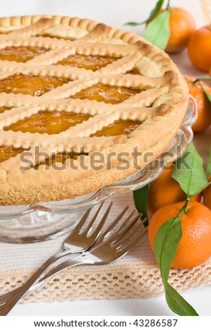 Close up of a tart and some mandarins - stock photo