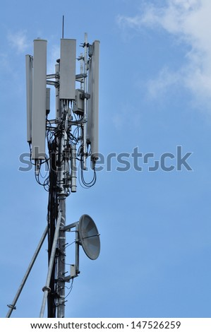 Close-up of a telecommunication tower.