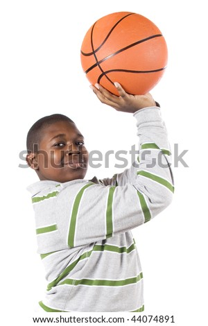 Close-up of a ten-year old African American ready to shoot a basketball into a hoop.  Isolated on white. - stock photo