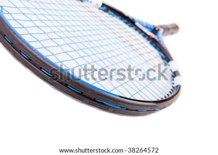 close up of a tennis raquet - stock photo
