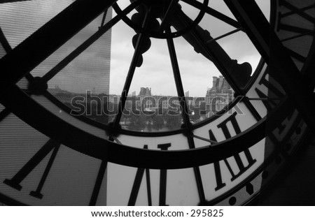 Close-up of a the inside of a clock tower, Paris, France (black and white), - stock photo