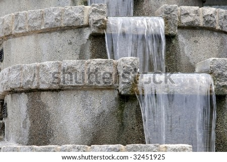 Close Up of a tiered garden fountain - stock photo