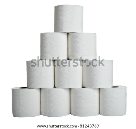 close up of  a toilet paper on  white background - stock photo