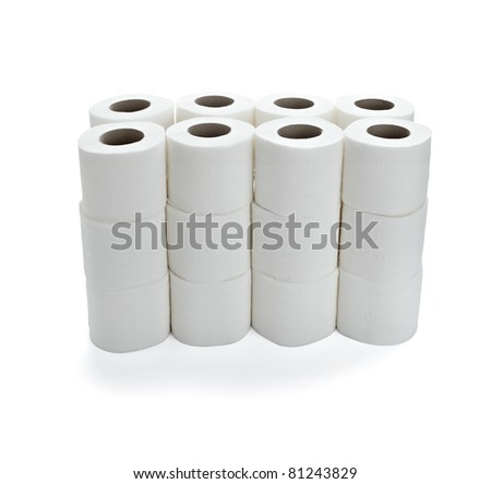 close up of  a toilet paper on  white background