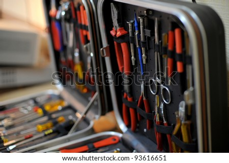Close-up of a toolbox with instrument sets - stock photo