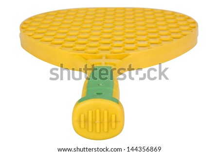 Close-up of a toy tennis racket - stock photo