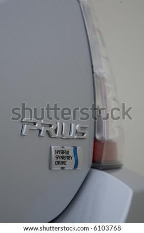 Close up of a 2007 Toyota Prius logo. - stock photo