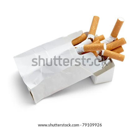 close up of a trashed box of cigarettes on white background with clipping path - stock photo