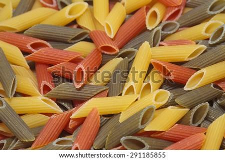 Close up of a Tricolore Pasta. - stock photo