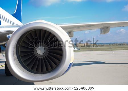 Close up of a turbojet's aeroengine - stock photo