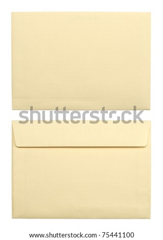 close up of a two beige envelopes on white background with clipping path - stock photo
