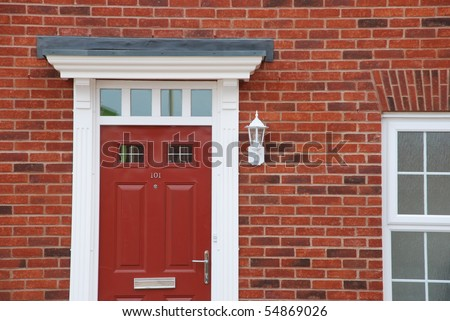 close-up of a typical british residential house - stock photo