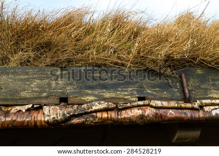 Close up of a typical rural building with natural grass roof and silver birch rafters in Torshavn, Faroe Islands - stock photo