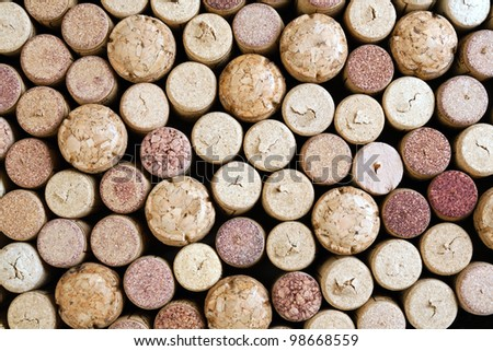 close up of a various wine corks - stock photo
