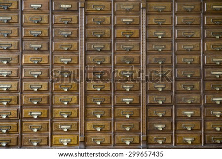 close-up of a very old apothecary cabinet - stock photo