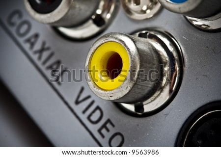 Close up of a video connector on a DVD set - stock photo