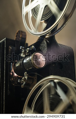 Close up of a vintage film projector - stock photo