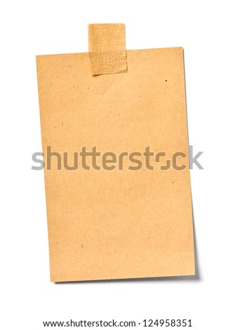 close up of a vintage note paper on white background - stock photo
