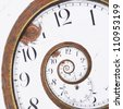 Close-up of a vintage Rusty clock swirl - stock photo