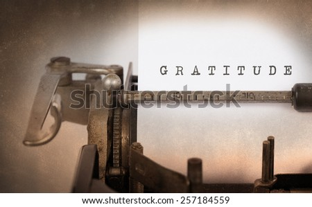 Close-up of a vintage typewriter, old and rusty, gratitude - stock photo