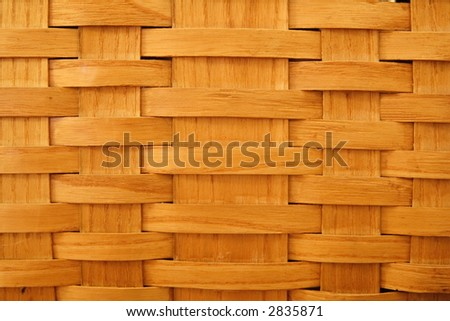 Close up of a vintage woven wood picnic basket - stock photo