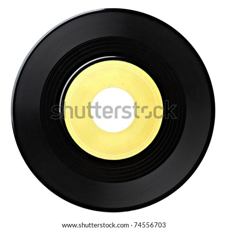 close up  of a vinyl disc on white background with clipping path - stock photo