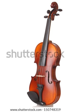 Close up of a violin on white background  - stock photo