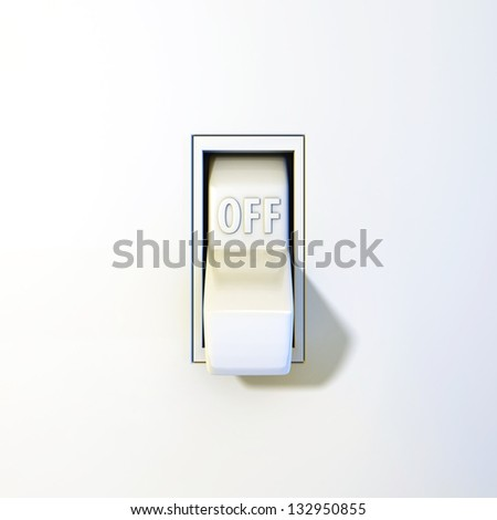 Close up of a wall light switch in the off position - stock photo