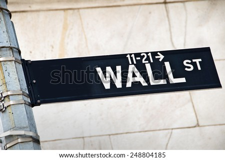Close up of a Wall street direction sign, New York, USA - stock photo