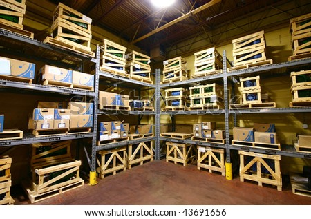 Close-up of a warehouse interior. - stock photo
