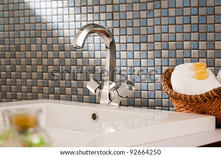 close up of a wash basin in a modern bathroom - stock photo