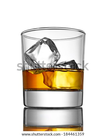 close up of  a whiskey with ice cubes on white background