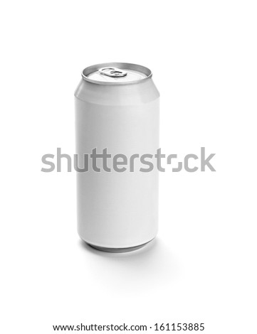 close up of  a white aluminum tin can template on white background