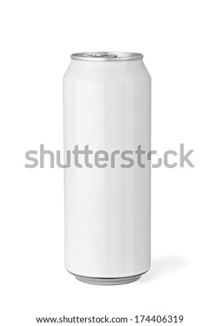 close up of  a white beer can template on white background - stock photo