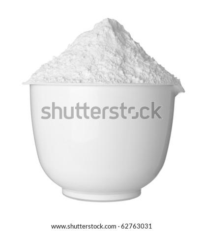 close up of  a white bowl and baking powder on white background  with clipping path - stock photo
