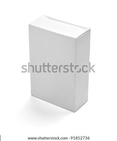 close up of  a white box on white background with clipping path - stock photo