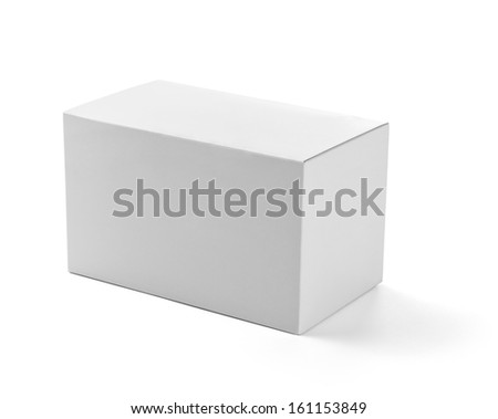close up of  a white box template on white background