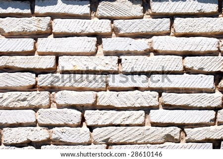 Close up of a white brick wall