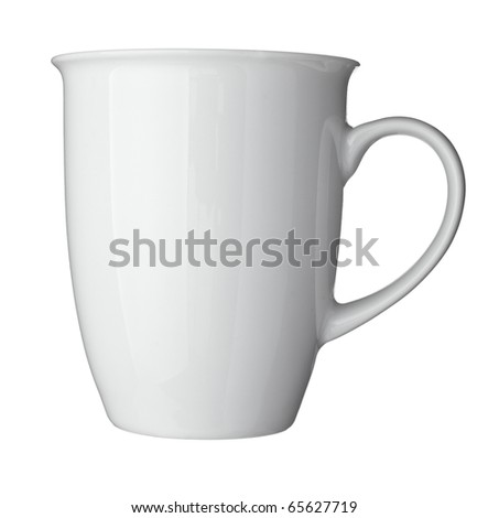 close up of  a white coffee cup on white background  with clipping path - stock photo