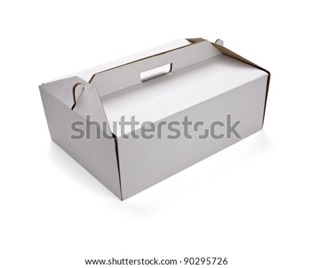 close up of  a white delivery box on white background with clipping path - stock photo