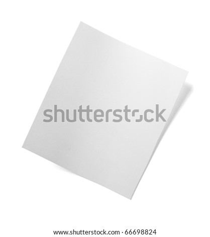 close up of  a white note paper on white background  with clipping path - stock photo