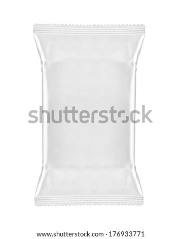 close up of  a white package template on white background - stock photo
