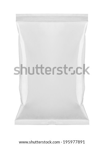 close up of  a white package template on white background