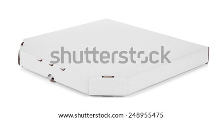 close up of a white pizza box, isolated on white