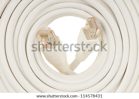 Close-up of a white RJ45 network plug on white background - stock photo
